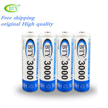 Fast Shipping, Best Rechargeable Battery AA 3000 50 X BTY NI-MH 1.2V Rechargeable aa battery rechargeable batteries  800MAH