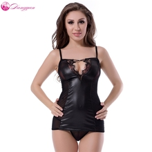 Buy DangYan plus size Black Leather sexy teddy dress transparent latex erotic babydoll dress brief sexy costume erotic lingerie