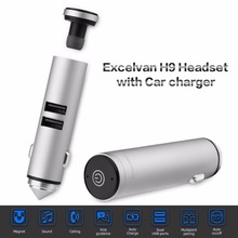 Newest Excelvan H9 Wireless Bluetooth Headset with Car Charger Dual 2.1A USB Ports Single Stereo Earphone for Driving Sports(China)