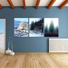 Unframed Canvas Hanging Painting Deer Flower Forest Tree Pictures Modern Wall Art Triple For Living Room Exhibition Collection(China)