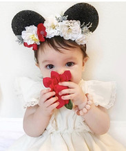 Hair Accessories Mickey Minnie Mouse Ears Kids Wreath Flowers Headband Floral Crown Hairbands