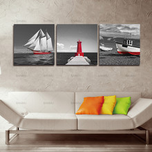 Paintings Print on Canvas Wall Art for Home Wall Decor 3Pcs Huge Modern Giclee Prints Artwork Red Sailboat Tower Pictures Photo(China)