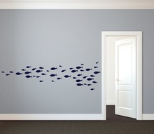 60pcs/4size custom nursery School of Simple Fish Wall Decal Vinyl Art Stickers for Interior decor free ship,M2S1