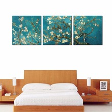 3 Panels Canvas Painting Almond Blossom Wall Art Van Gogh Works Flower Painting with Wooden Framed For Home Decor Ready to Hang(China)
