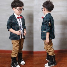 children clothing boys jackets coats 2016 spring plaid Single-row button splice gentleman boys blazer kids coats free shipping