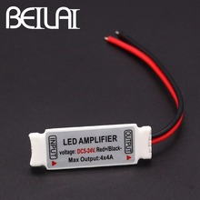 BEILAI DC 5-24V Mini RGBW LED Amplifier 4A X 4 Channel Ultra Slim Mini Portable Repeater for SMD 5050 RGBW LED Strip Light