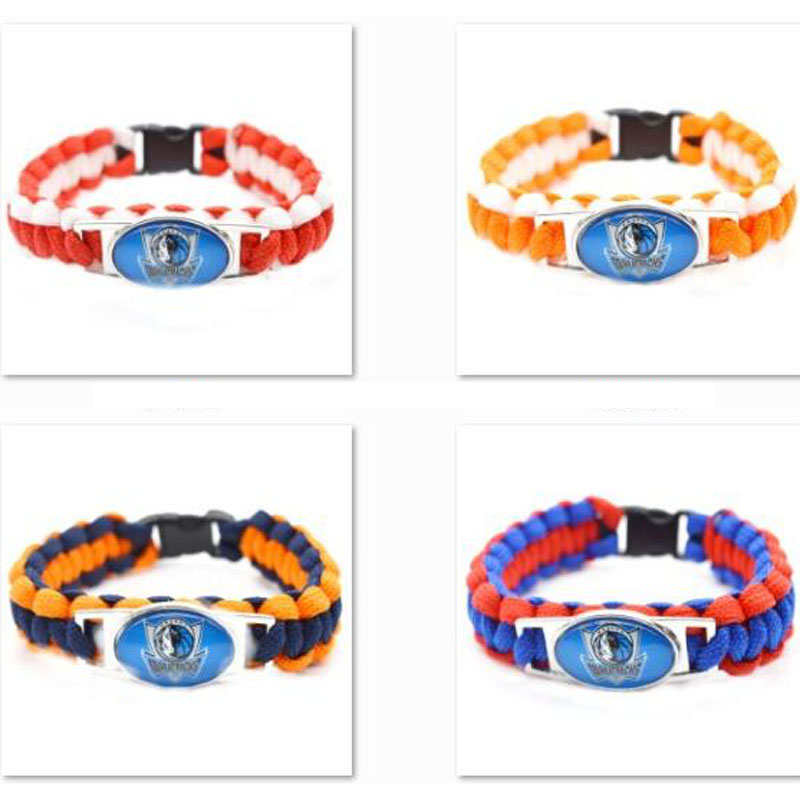 2017 New Basketball Bracelet Dallas Mavericks Charm Braided Bracelet for Men Women Sport Bracelet Jewelry Gifts(China)