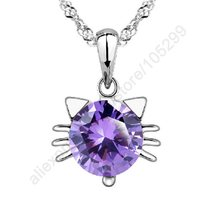 JEXXI Wholesale Necklaces 925 Sterling Silver Purple Cubic Zirconia Kitty Cat Face Pendant Necklace For Lady Jewellery Party(China)