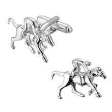Men's shirts Cufflinks high-quality copper material Horse racing horse Silver Cufflinks 2 pairs of packaging for sale