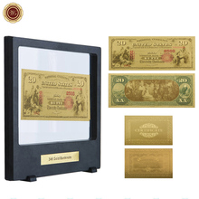 WR Festival Souvenir Gifts 20 Dollar Luxury Gold Banknote Creative 1875 Year Gift Money Currency Bill Note with Black Box(China)