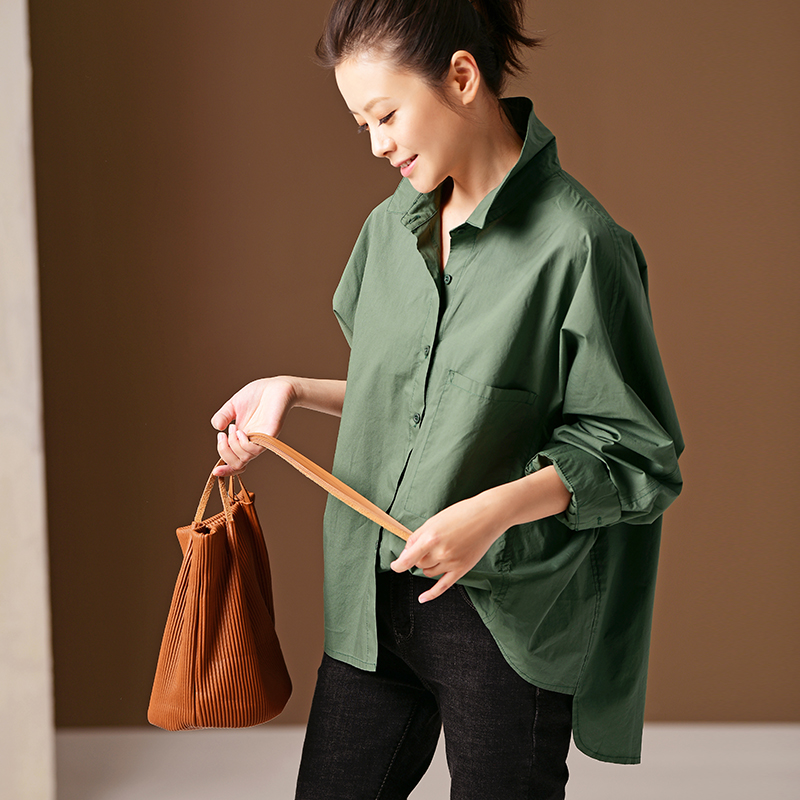 C2910 Literature and art large size with cotton green large pocket show thin wide version casual shirt woman