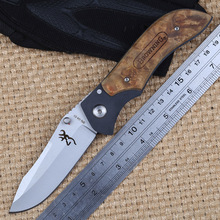 High quality Browning DA77 folding knife 5cr15mov blade copper head handle outdoor camping hunting tactical knife EDC tool(China)