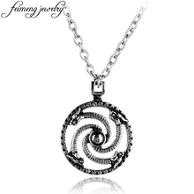 Punk Style Solar Serpentine Necklace Baltic Swastika Vintage Silver Solar Symbol Viking Pendant For Men Fashion Accessories