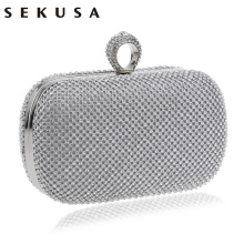 SEKUSA Evening Clutch Bags Diamond-Studded Evening Bag With Chain Shoulder Bag Women's Handbags Wallets Evening Bag For Wedding(China)