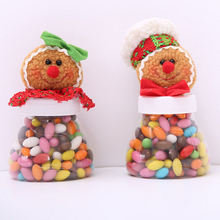 1Pc Transparent Plastic Candy Jar Sugar Bowl Gingerbread Man And Women Gift Ornaments Christmas Decorations Kids Gift(China)