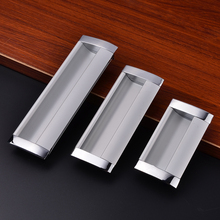 Sliver Zinc Alloy Simple Invisible Door Handles For Wardrobe Drawer Cabinet Kitchen Linux Modernized Knobs Furniture Parts(China)