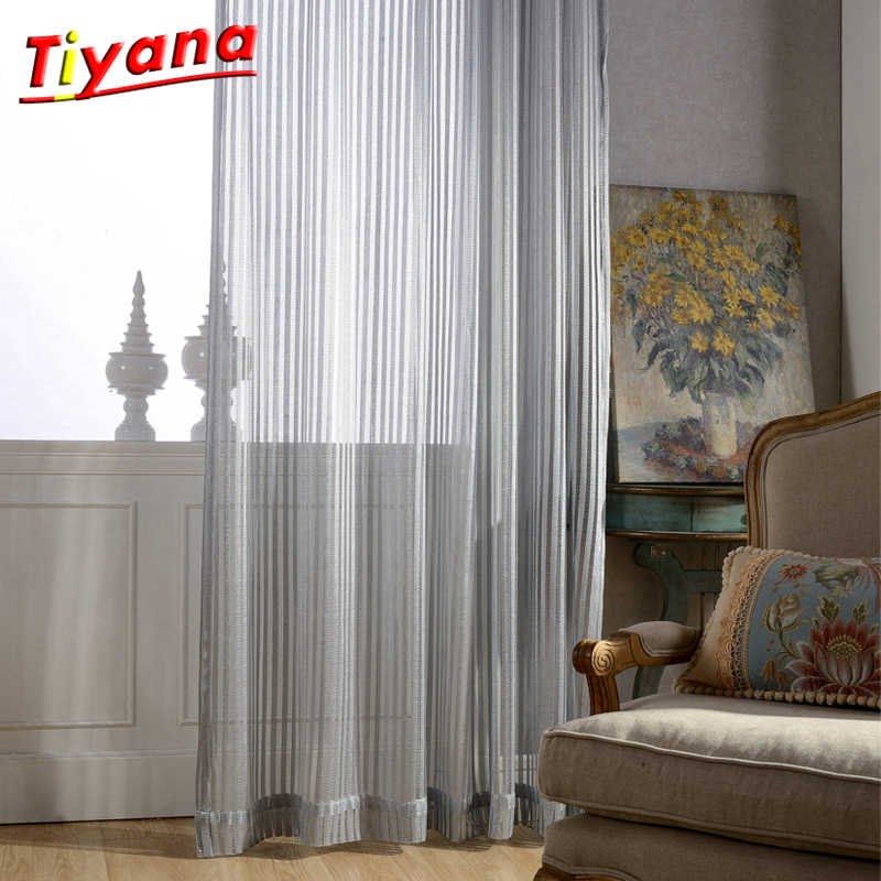 Modern Translucidus sivler grey lace fancy curtain cloth voile tulle for decoration living room bedroom balcony window wp097*15