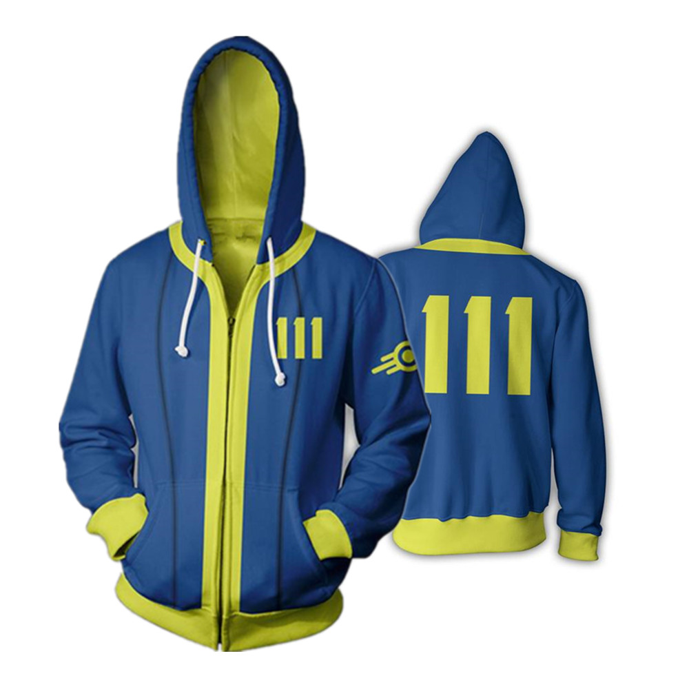 Fallout Casual Cool Hoodies Thin Full Zip Tops Funny Jacket Sweatshirt Coat Gift