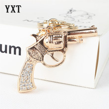 Fashion Pistol Gun Handgun New Crystal Rhinestone Charm Pendant Purse Bag Car Key Ring Chain Creative Gift(China)