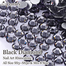 1440pcs/pack All Size Non Hotfix Crystal Black diamond Rhinestones SS3 SS6 SS8- SS30 Strass For Phone and DIY Accessories