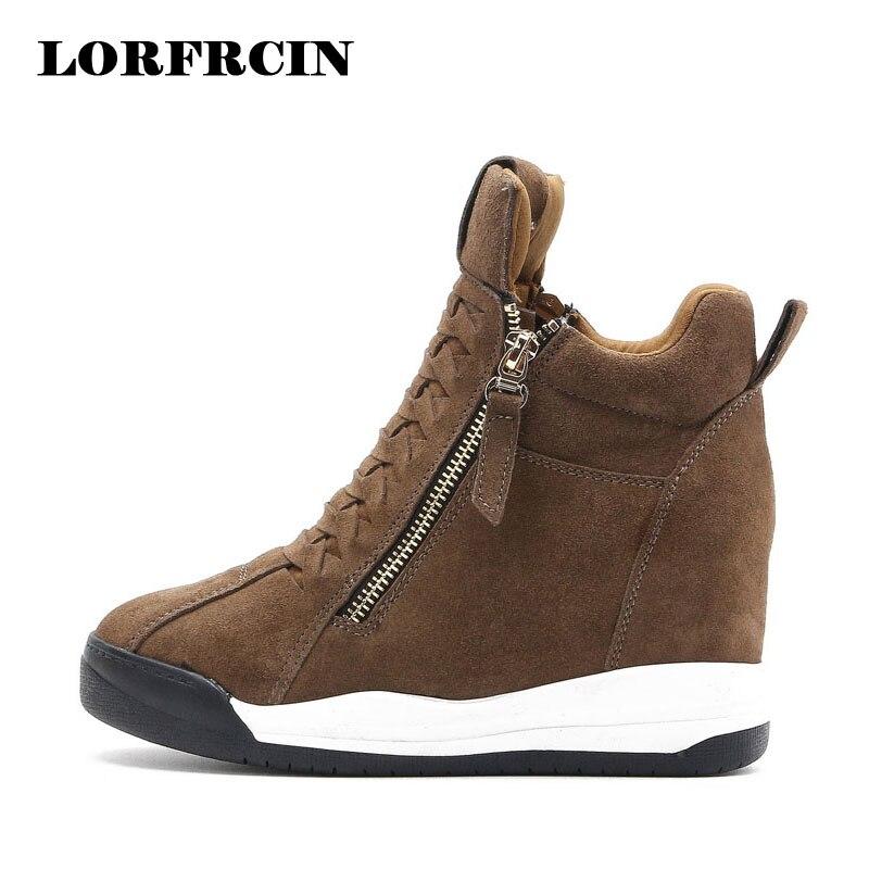 Height Increasing Shoes Woman Zipper Wedge Women Shoes Hidden Heel Casual Shoes Side Zip Women Boots LORFRCIN<br>