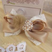 Sweet princess Luxury mink ball pearl ball lace bow side-knotted clip winter hair accessory  original