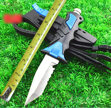 Blue Very Sharp Square Fixed Blade Diving knife 440C Stainless Steel Small Straight Knives Tactical Survival Knife H214-1#