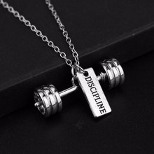 Barbell Chokers Necklace Men Strength Weight Plate Dumbbell Women Pendant Kettle bell Necklace Fashion Sports Jewelry(China)
