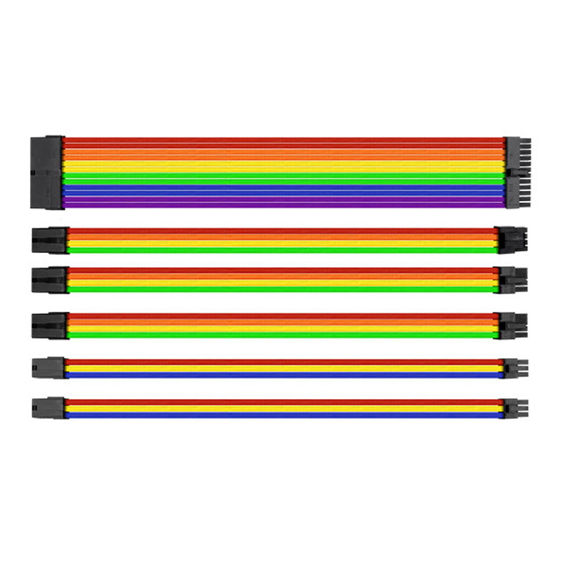 30cm UL 1007 18AWG Motherboard Multicolor Sleeved Power Extension Cable Set 24Pin/8Pin/6Pin<br>