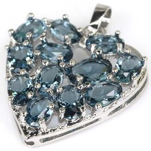 2017 New Stone London Clear And Blue AAA Cubic Ziconia Heart  Woman's Wedding 925 Silver Pendant 30x23mm