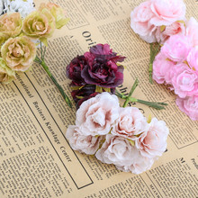 6pcs/lot Mini Silk Artificial Rose Flowers Bouquet Wedding Decoration Paper Flower For DIY Scrapbooking Handmade Flower Ball