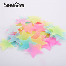 Bearoom Wall Stickers DIY 3D Home Decor Glow Stars Fluorescent Plastic Decals In The Dark Stars for Nursery Kids Room 100pcs