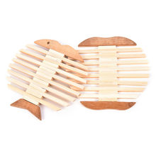 New Creative Apple Fish Shape Bamboo Wood Table Mat Pot Holder Insulation Mat Round Bowl Pad