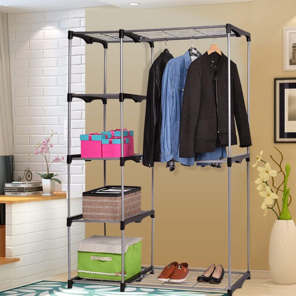 Closet Organizer Storage Rack Portable Wardrobe Garment Hanger Double Rod Shelf HW54088<br>