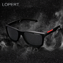 LOPERT Fashion Polarized Sunglasses Men Square Glasses Brand Classic Women Coating Points Black Frame Sun Glasses   UV400