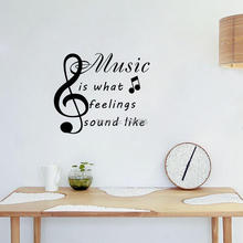 Music Is What Feeling Sound Like Funny Note Wall Sticker Fashion Pattern Wall Decal Art Vinyl Wallpaper Living Room Decor