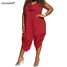 2017 Plus size Rompers Women Sexy Jumpsuit Scarf collar loose Overalls Big Large Size Straight Jumpsuits Sleeveless Jumpsuits