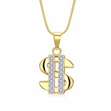 US Dollar Money Necklace & Pendant 316L Stainless Steel/Gold Color Chain For Women/Men Rhinestone Hip Hop Bling Jewelry