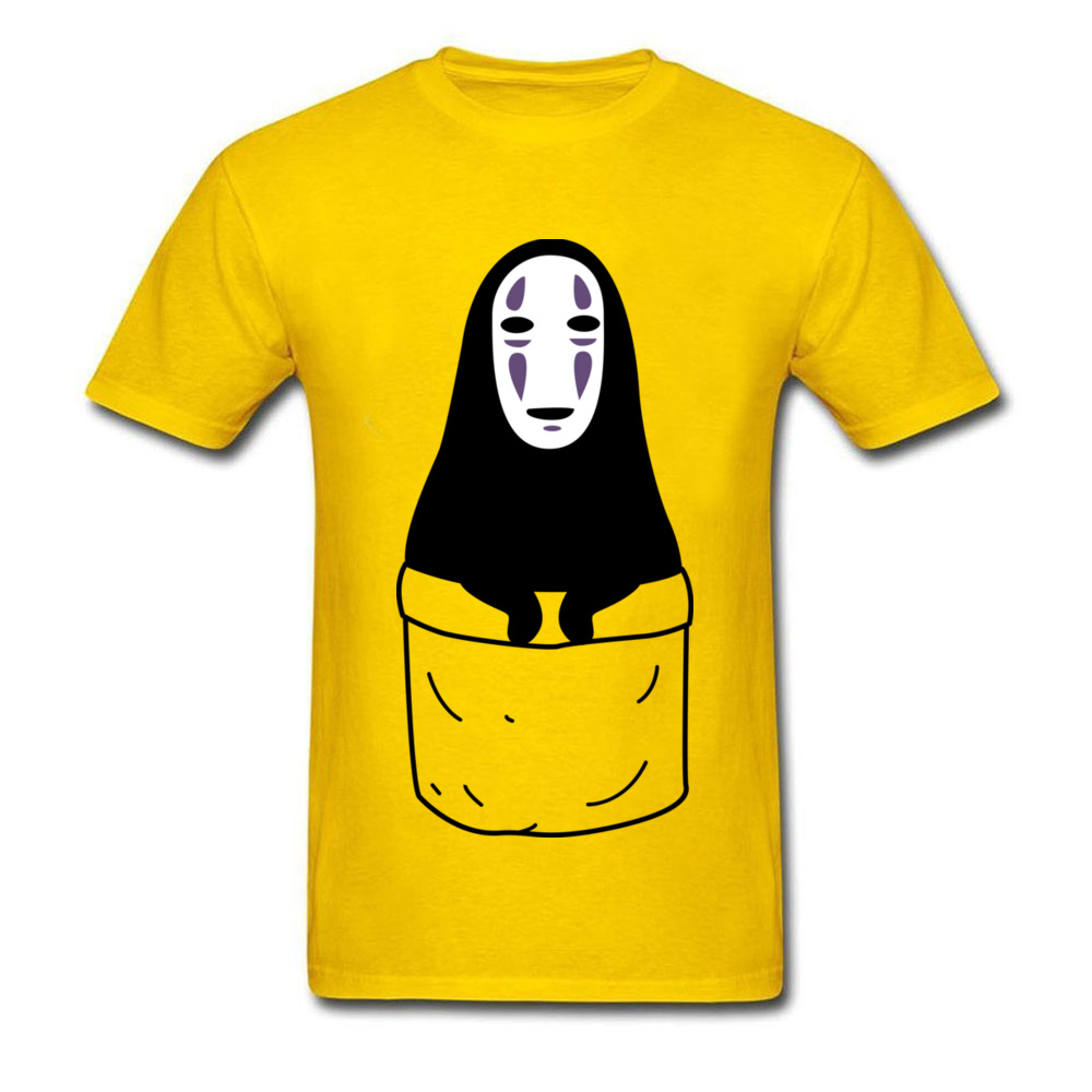 Mens Tops Shirts Kaonashi in a pocket Newest Printed On T-shirts 100% Cotton Short Sleeve Funny Sweatshirts Round Neck Kaonashi in a pocket yellow