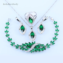 L&B silver 925 Green Created Emerald White Crystal Necklace Pendant Bracelets Earrings Ring For Women Jewelry Sets