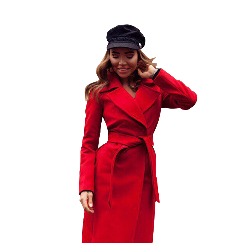MVGIRLRU elegant Long Women's coat lapel 2 pockets belted Jackets solid color coats Female Outerwear 9