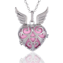 Perfume Diffuser Top Wings Heart Angel Ball Necklace White Gold Sound Bola Lockets Pregnant Women Gift Free Shipping(China)