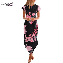 Fantaist Summer Dress Women Bohemian Midi Straight O-Neck Short Sleeve Sashes Casual Elegant Club Party Office Work Ladies Dress(China)