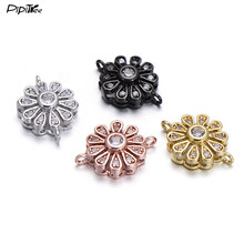 Pipitree Wholesale 5pcs/lot Shiny Zircon Flower Charms fit Bracelet Pendant Copper DIY Crystal Beads Charms for Jewelry Making(China)