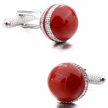 Birthday Gift Red Enamel Cricket Ball Design Novelty Cufflinks for Men with Free Box(China)