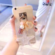 Luxury Sea shells starfish Tassel Keychain Transparent Acrylic case cover for Samsung Galaxy J1 ACE J3 J5 J7 A3 A5 A7 A9 prime