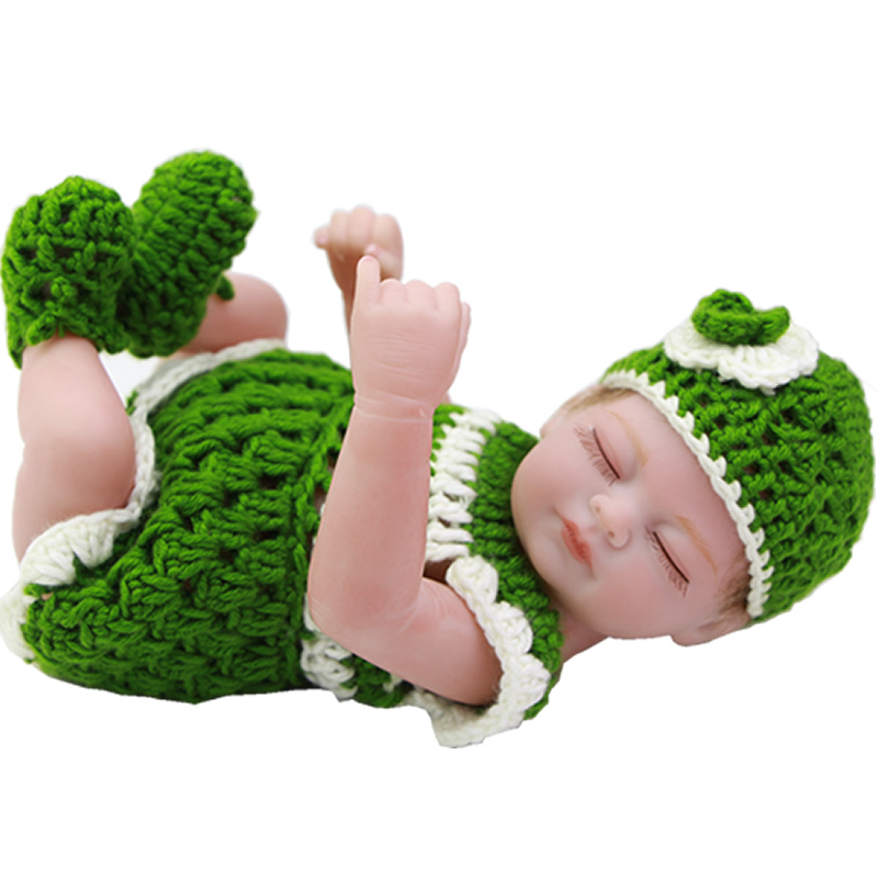Rooted Mohair Full Silicone Vinyl Reborn Baby Girl 11 Inch Alive Newborn Babies Dolls With Closed Eyes Kids Birthday Xmas Gift<br><br>Aliexpress