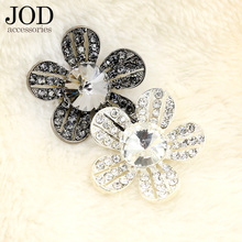 JOD 35mm Flower Rhinestone Buttons for Clothing Metal Decorative Buttons Brand Coat Sweater Sewing Applications Fashion Women(China)