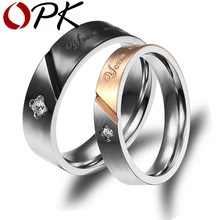 OPK Couple Black/Gold Color Anniversary Rings Fashion Stainless Steel AAA+ Cubic Zirconia Women/Men Jewelry 1 Pair Price GJ458(China)