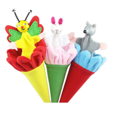Kids Practical Jokes Toy Cartoon Animal Toy Clown Pop Up Puppet Telescopic Stick Rods Doll Wooden Classic Toys 3 pcs/lot 11-184